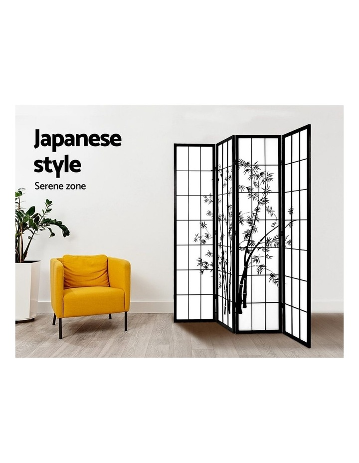 4 Panel Room Divider Screen Privacy Dividers Pine Wood Stand Shoji Bamboo Black White image 5