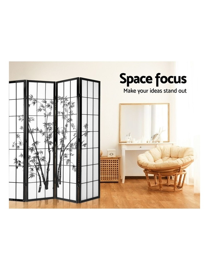 4 Panel Room Divider Screen Privacy Dividers Pine Wood Stand Shoji Bamboo Black White image 6