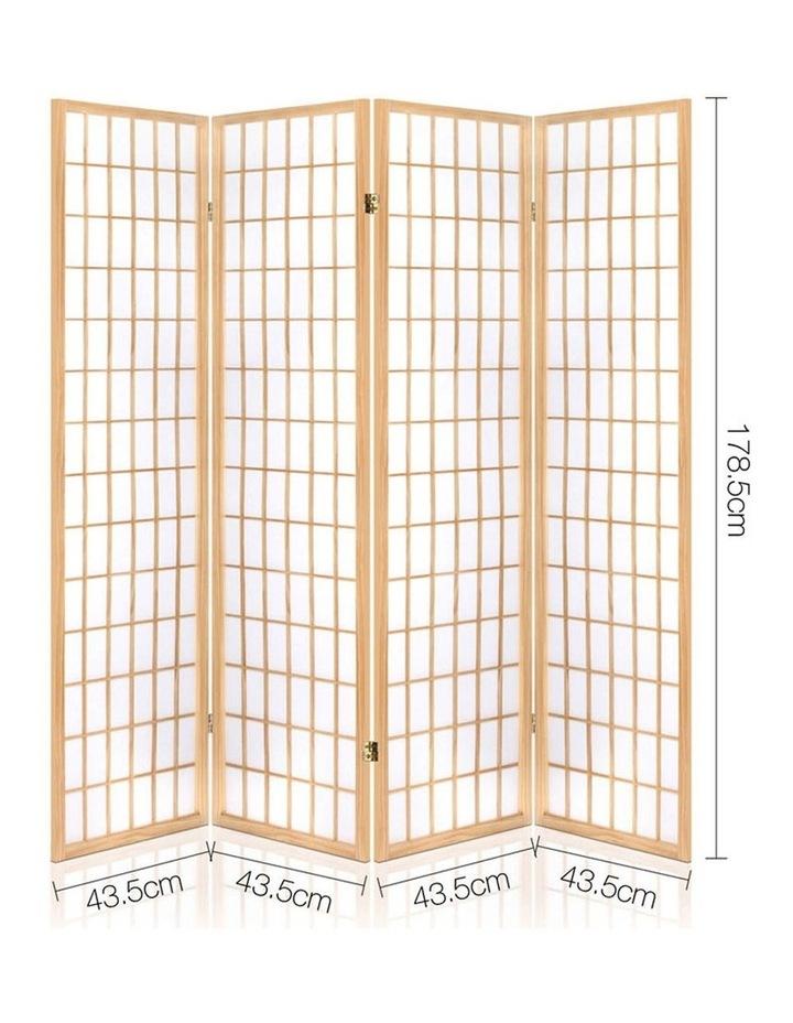 4 Panel Wooden Room Divider - Natural image 2