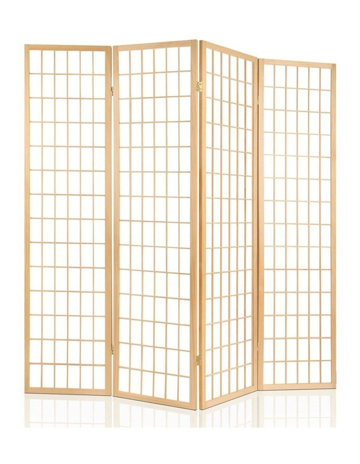 4 Panel Wooden Room Divider - Natural image 3