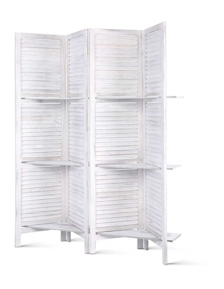 4 Panel Room Divider Screen Privacy Foldable Wooden Timber Stand Shelf image 1