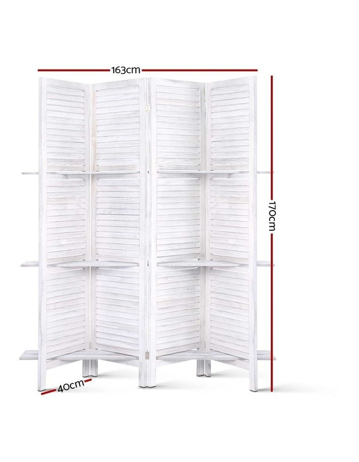 4 Panel Room Divider Screen Privacy Foldable Wooden Timber Stand Shelf image 2