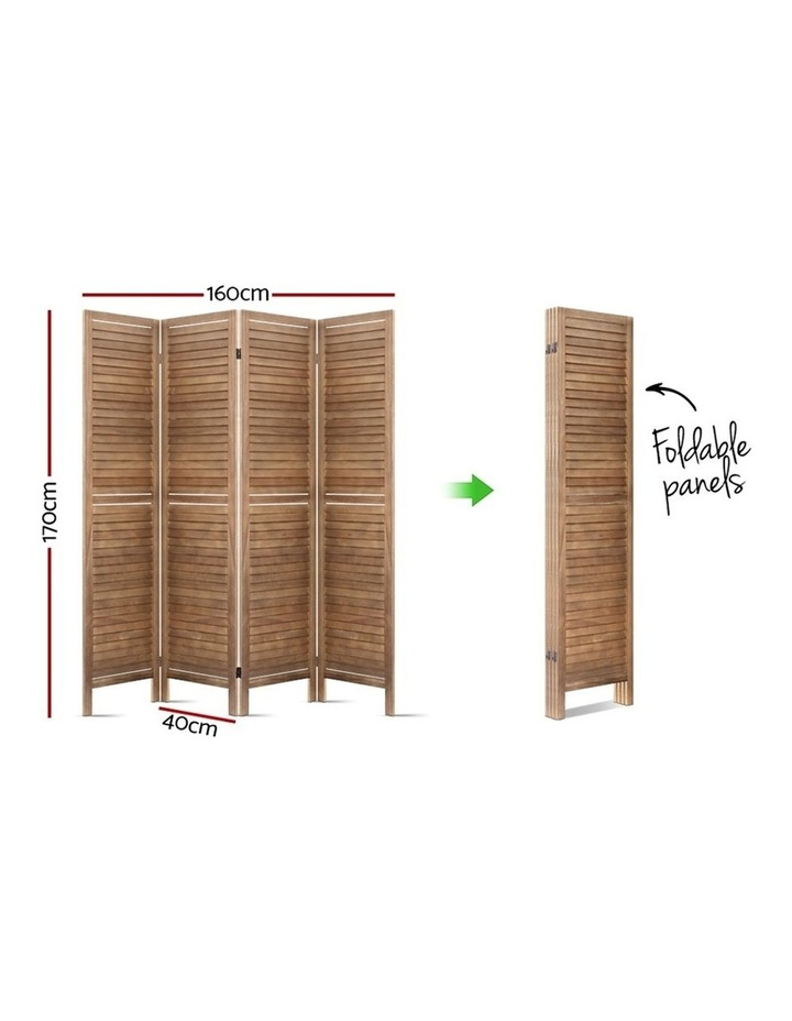 4 Panel Room Divider Screen Privacy Foldable Timber Wood Timber Stand image 2