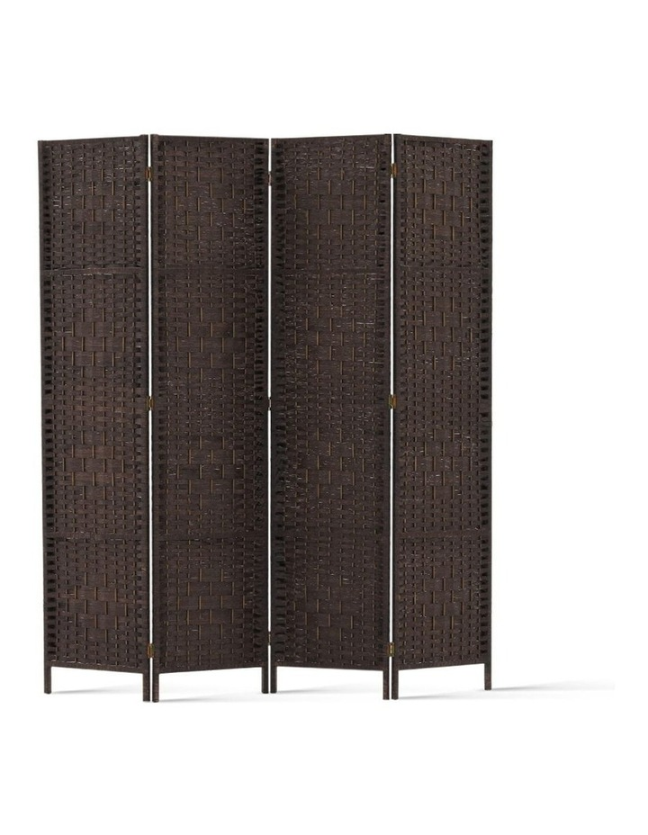 4 Panel Room Divider Privacy Screen Rattan Frame Stand Fold Woven Brown image 1