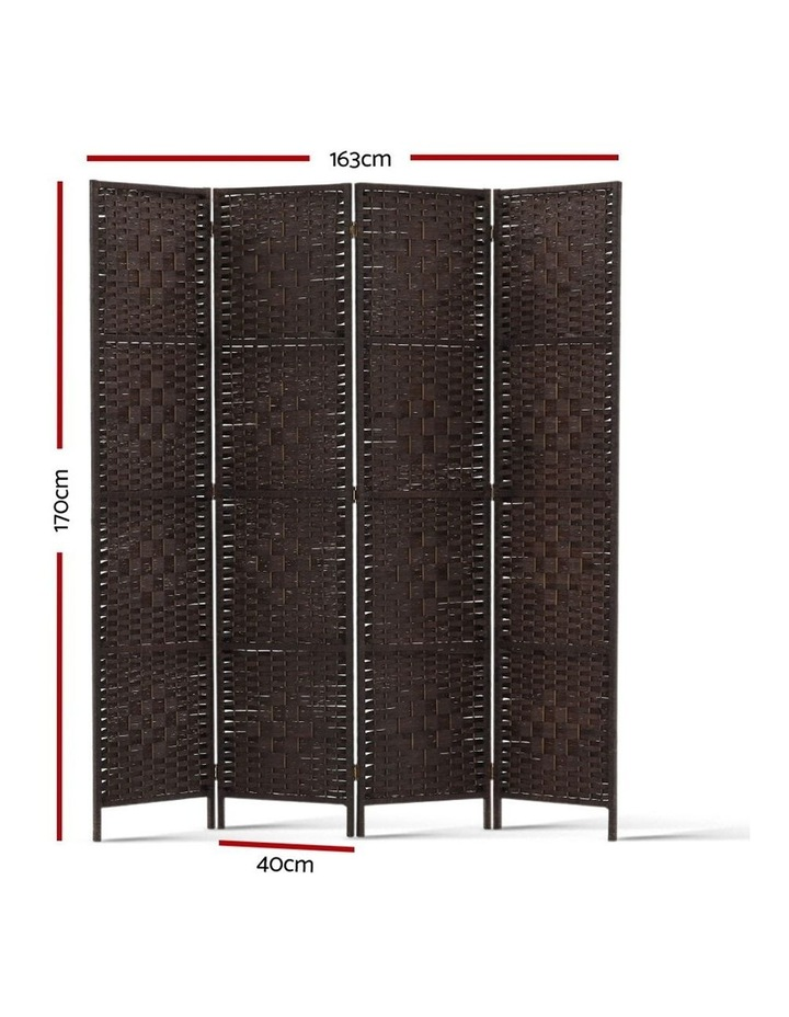 4 Panel Room Divider Privacy Screen Rattan Frame Stand Fold Woven Brown image 2