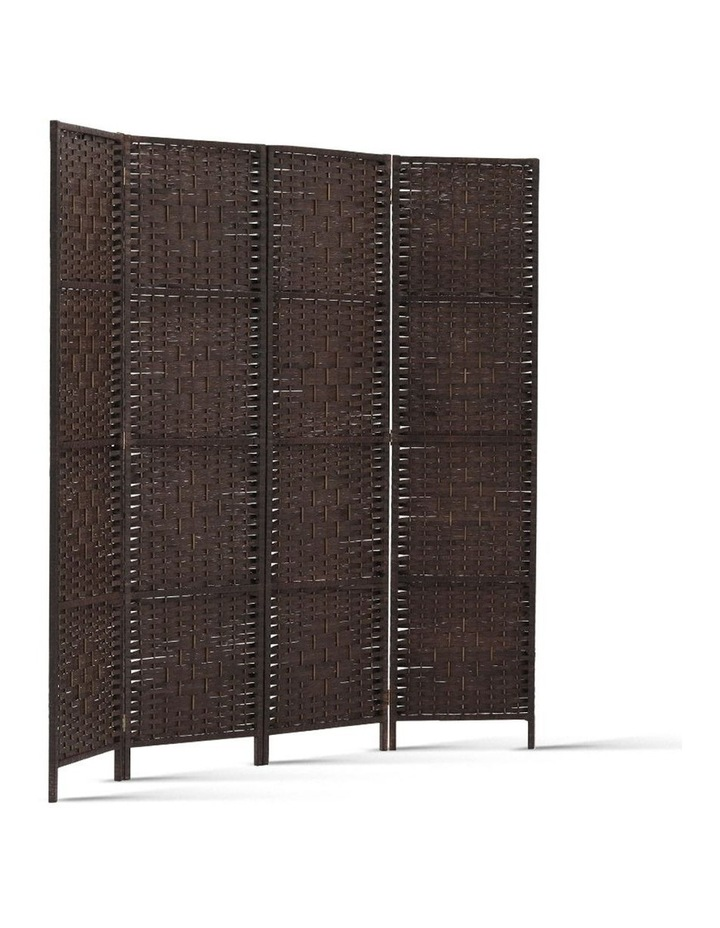 4 Panel Room Divider Privacy Screen Rattan Frame Stand Fold Woven Brown image 3