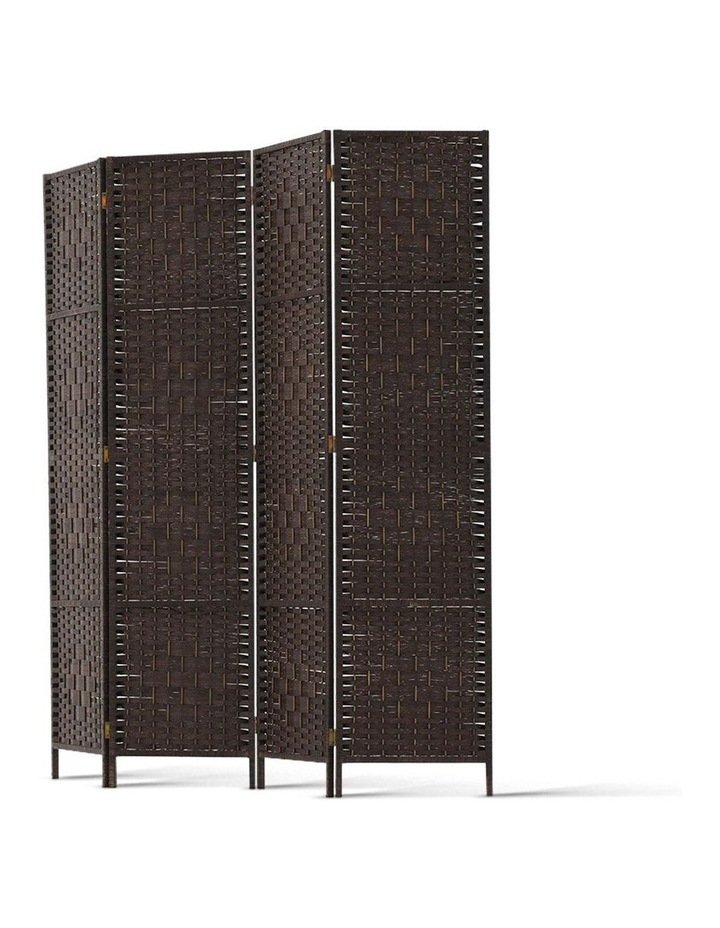 4 Panel Room Divider Privacy Screen Rattan Frame Stand Fold Woven Brown image 4