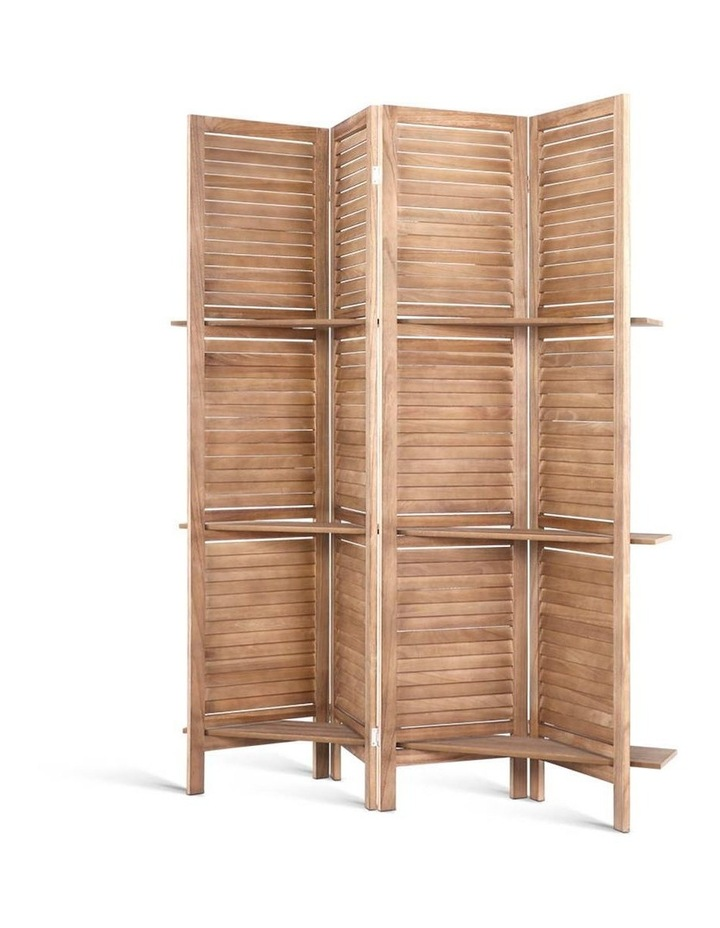 4 Panel Room Divider Screen Privacy Foldable Shelf Wooden Timber Stand image 1