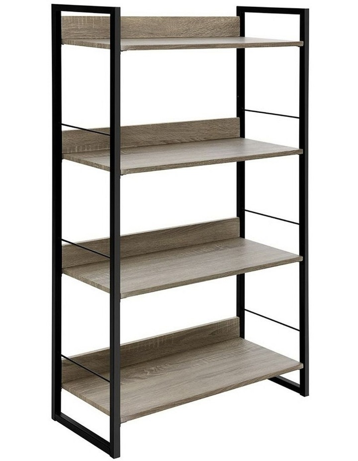 Book Shelf Display Shelves Corner Wall Wood Metal Stand Hollow Storage image 1