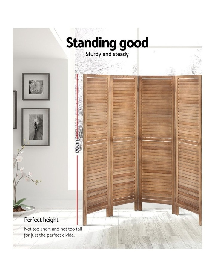 Room Divider Screen 8 Panel Privacy Wood Dividers Stand Bed Timber Brown image 3