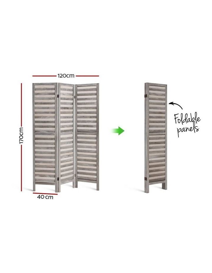3 Panel Room Divider Screen Privacy Wood Foldable Timber Stand Grey 170cm image 2
