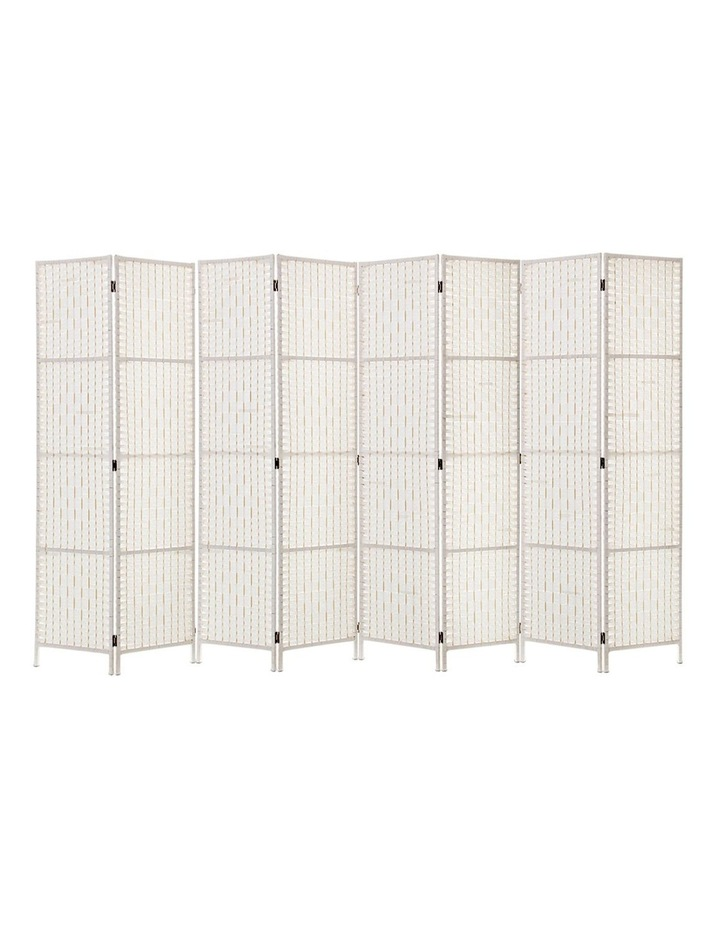 8 Panels Room Divider Screen Privacy Rattan Timber Fold Woven Stand White image 1