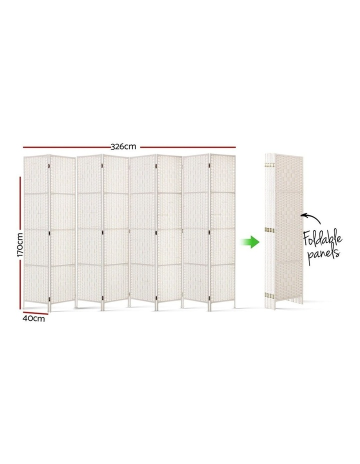 8 Panels Room Divider Screen Privacy Rattan Timber Fold Woven Stand White image 2
