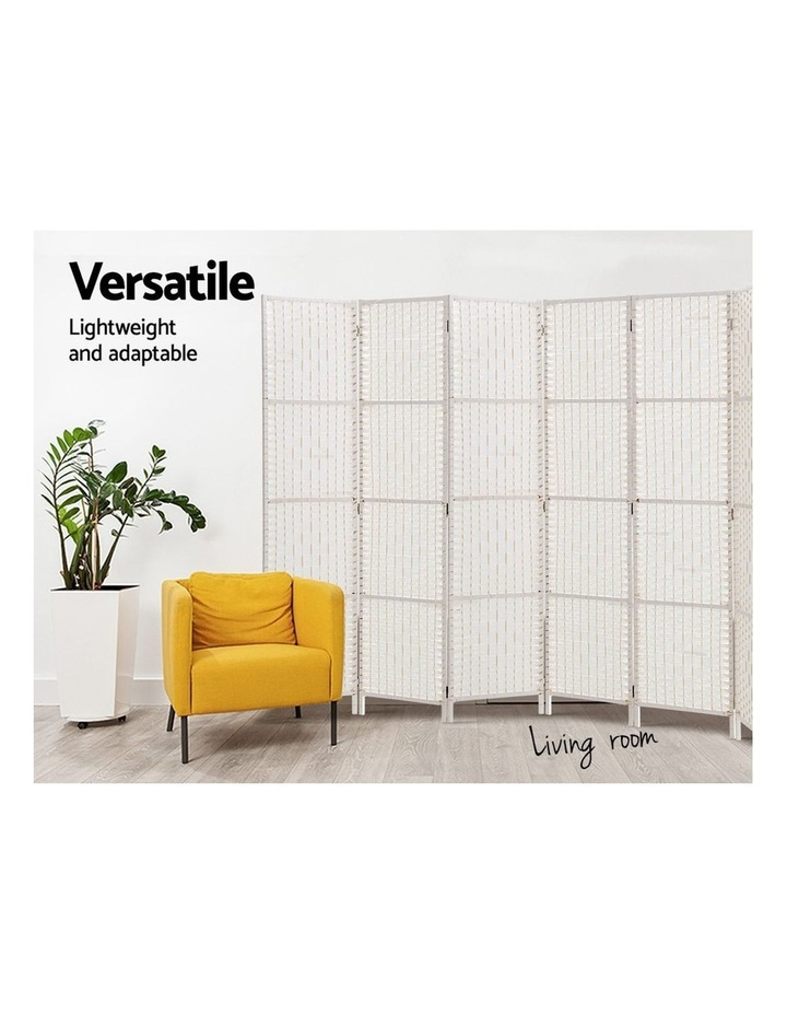 8 Panels Room Divider Screen Privacy Rattan Timber Fold Woven Stand White image 4