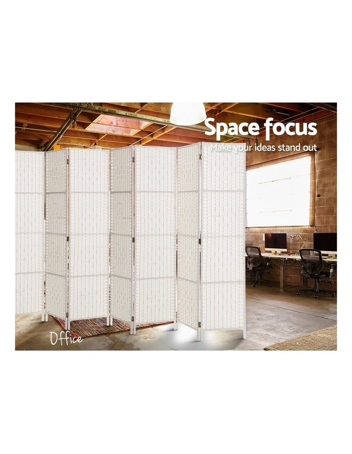 8 Panels Room Divider Screen Privacy Rattan Timber Fold Woven Stand White image 5