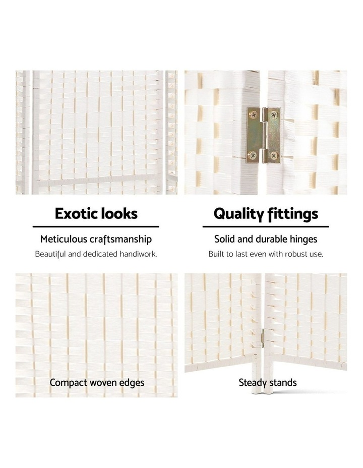 8 Panels Room Divider Screen Privacy Rattan Timber Fold Woven Stand White image 6