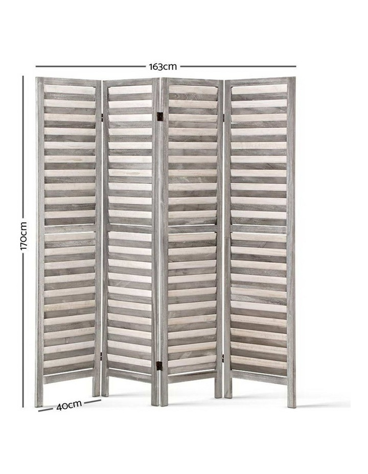 4 Panel Foldable Wooden Room Divider - Grey image 2