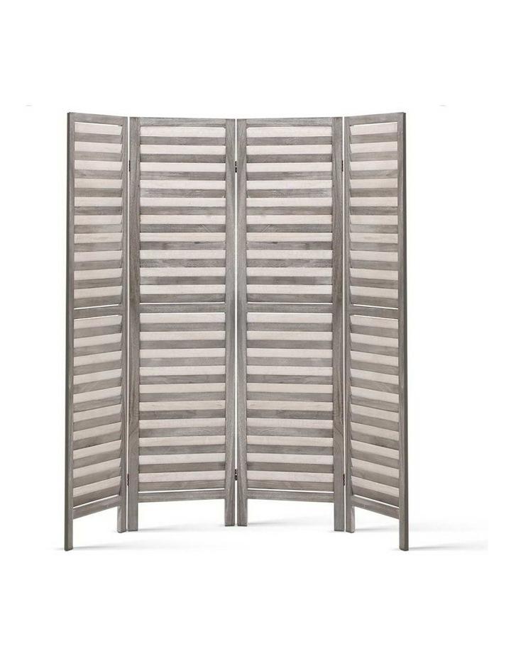 4 Panel Foldable Wooden Room Divider - Grey image 3
