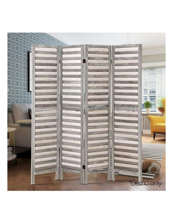 4 Panel Foldable Wooden Room Divider - Grey image 6