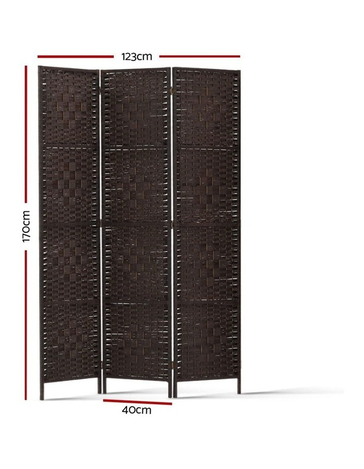 3 Panel Room Divider Privacy Screen Rattan Frame Stand Fold Woven Brown image 2