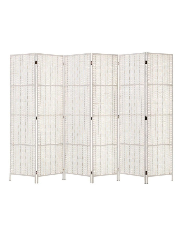 6 Panel Room Divider Privacy Screen Rattan Timber Fold Woven Stand White image 1