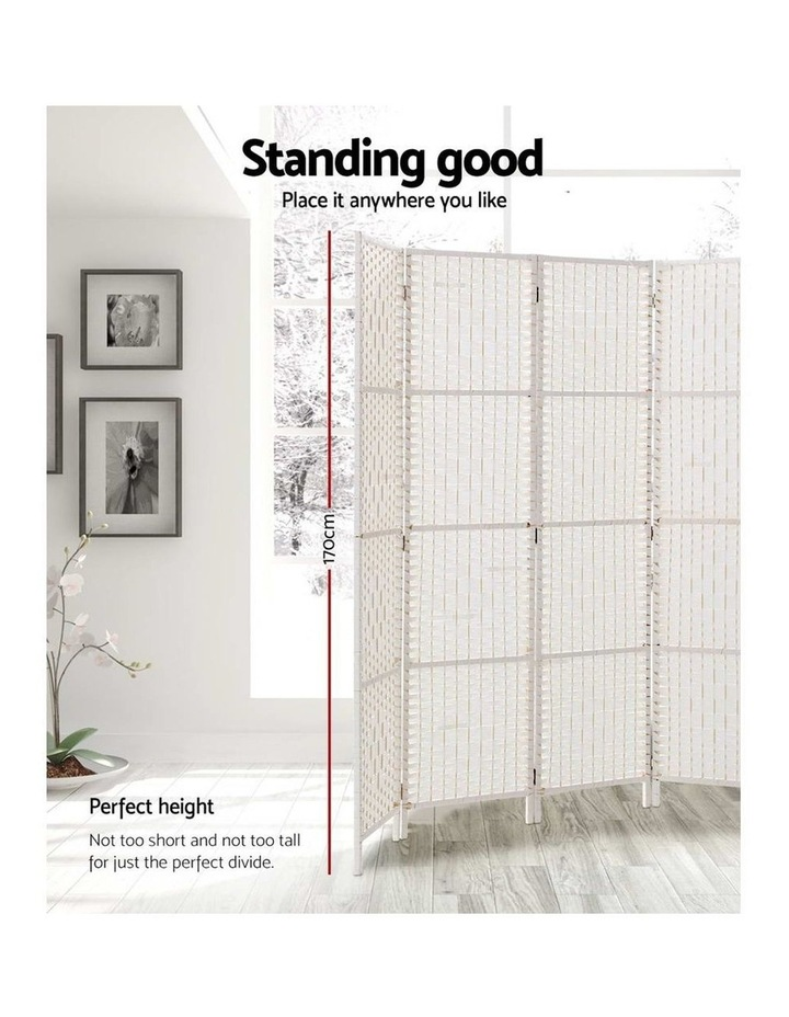 6 Panel Room Divider Privacy Screen Rattan Timber Fold Woven Stand White image 3