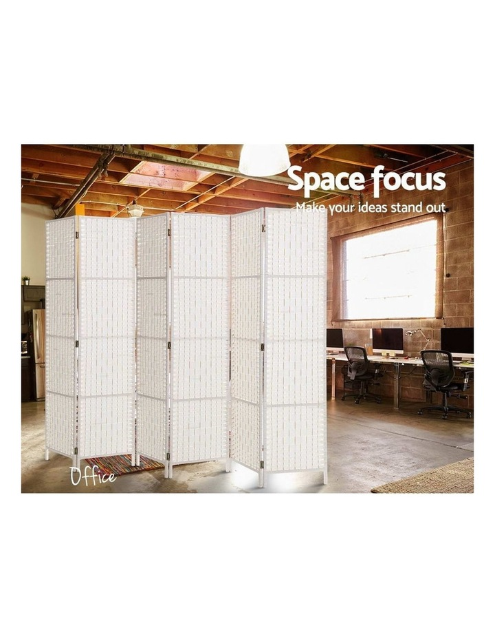 6 Panel Room Divider Privacy Screen Rattan Timber Fold Woven Stand White image 4