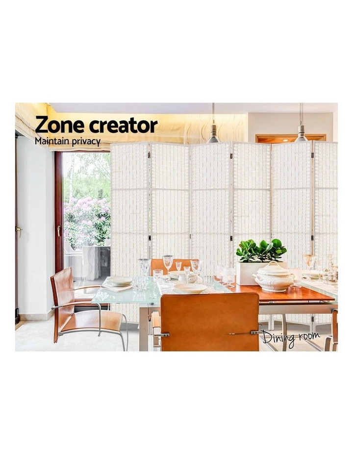 6 Panel Room Divider Privacy Screen Rattan Timber Fold Woven Stand White image 5