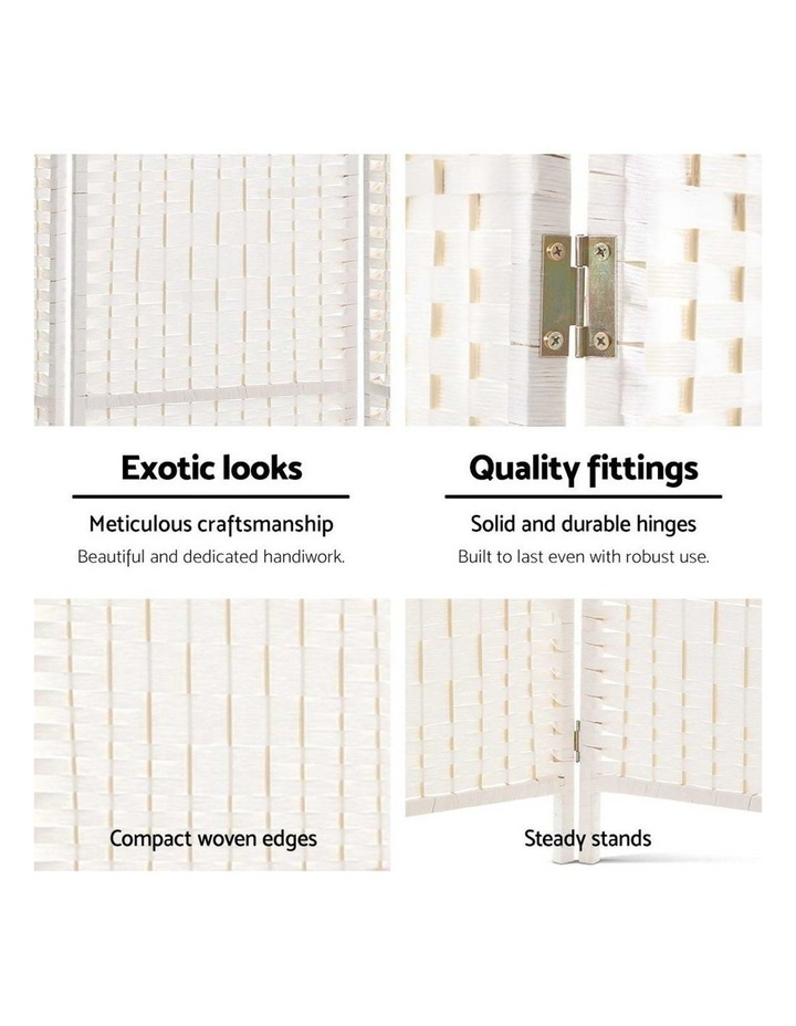 6 Panel Room Divider Privacy Screen Rattan Timber Fold Woven Stand White image 6