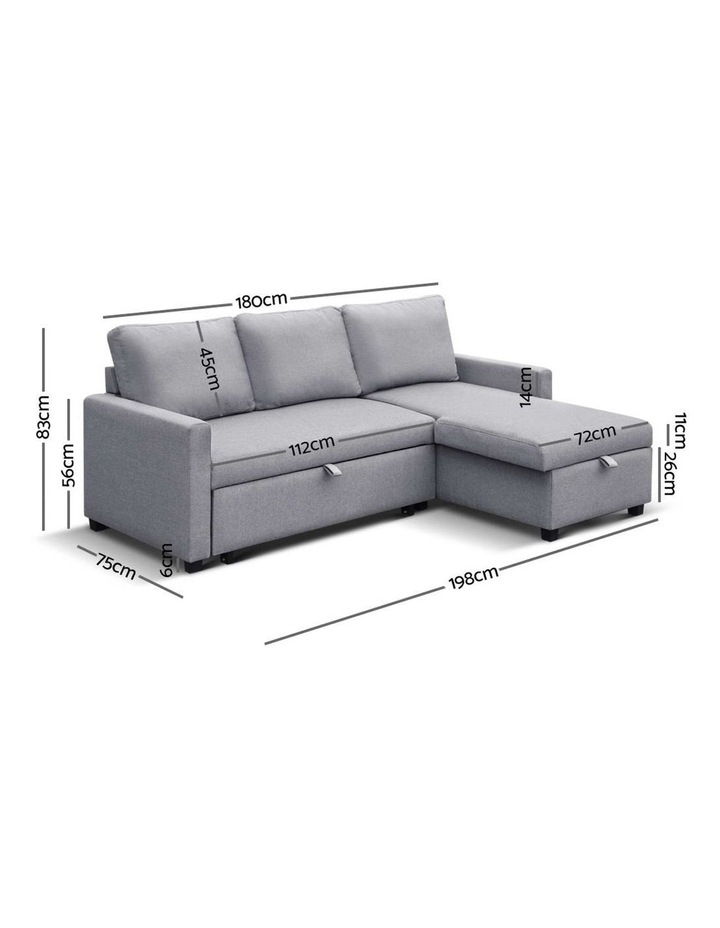 3-Seater Sofa Bed with Storage Corner Futon Fabric Lounge Chaise Couch image 2