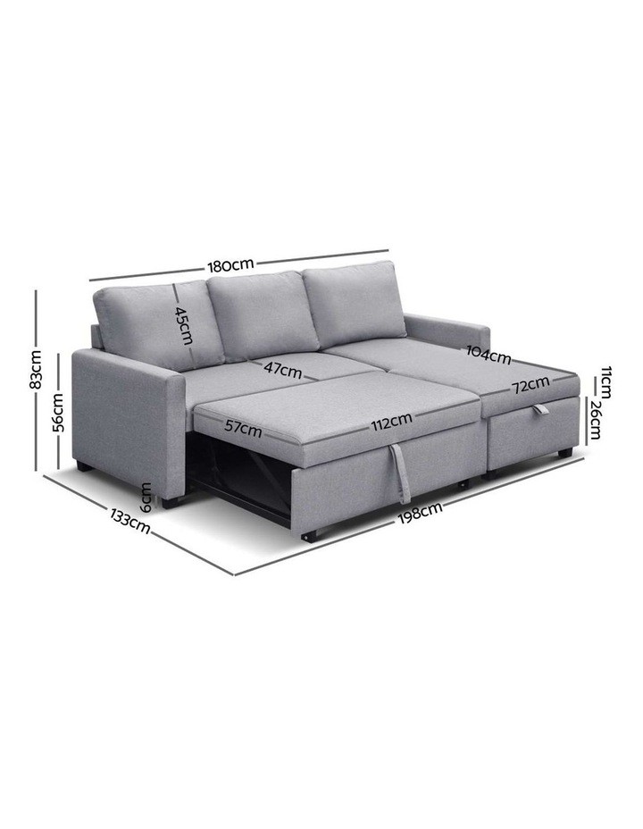 3-Seater Sofa Bed with Storage Corner Futon Fabric Lounge Chaise Couch image 3
