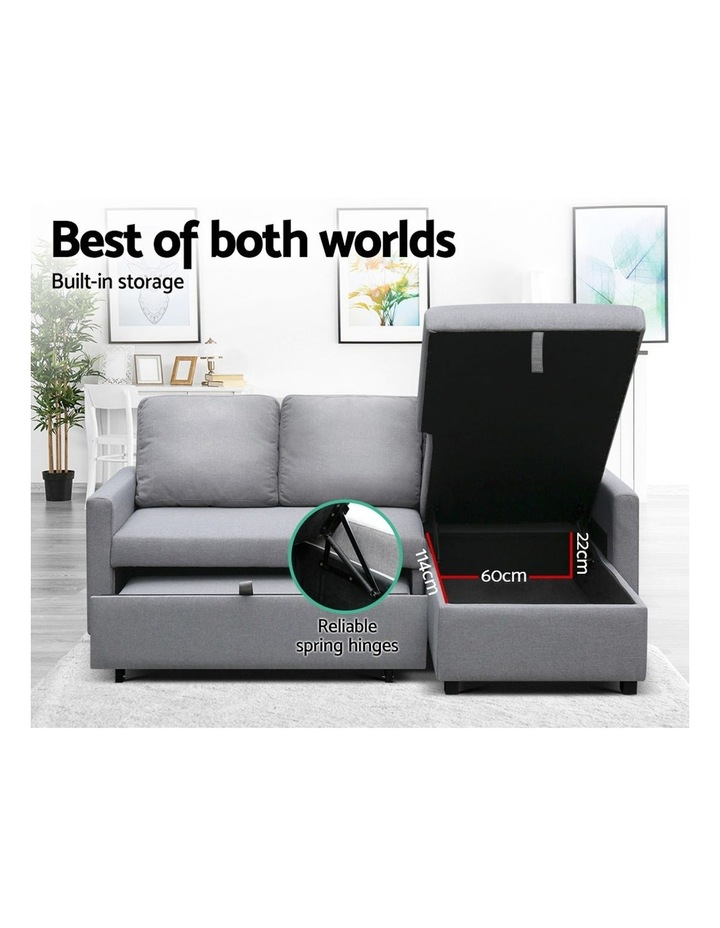 3-Seater Sofa Bed with Storage Corner Futon Fabric Lounge Chaise Couch image 5