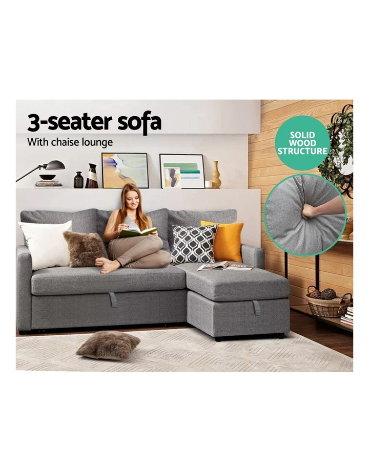 3-Seater Sofa Bed with Storage Corner Futon Fabric Lounge Chaise Couch image 6