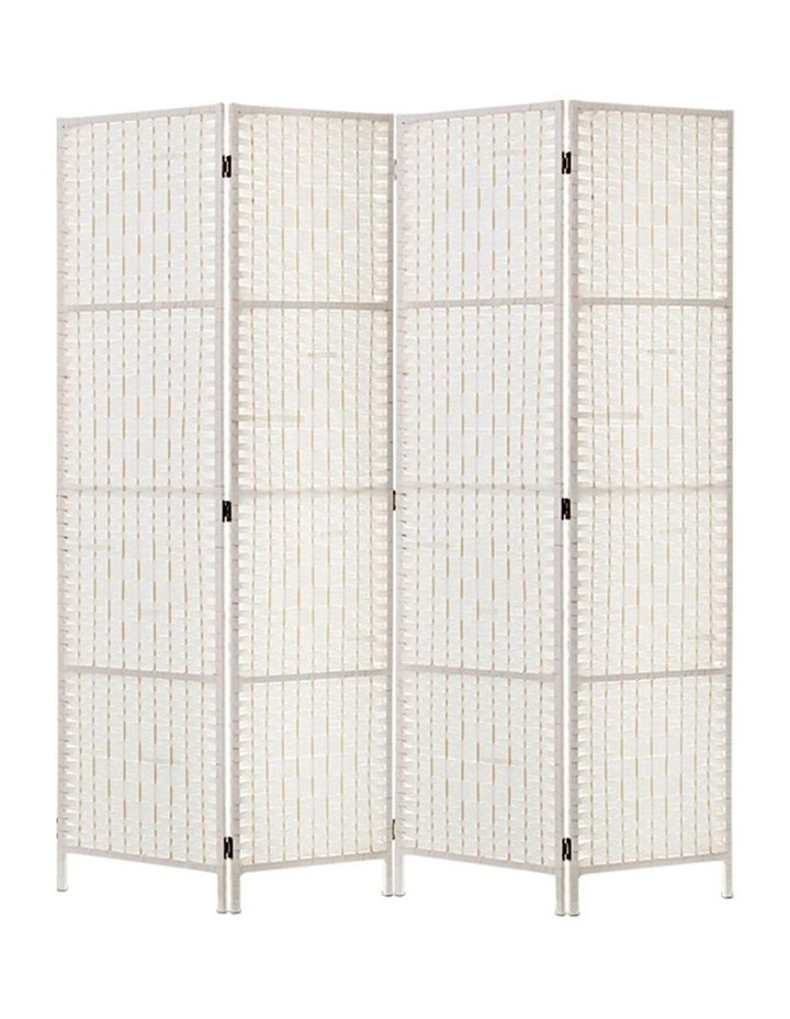 4 Panels Room Divider Screen Privacy Rattan Timber Fold Woven Stand White image 1