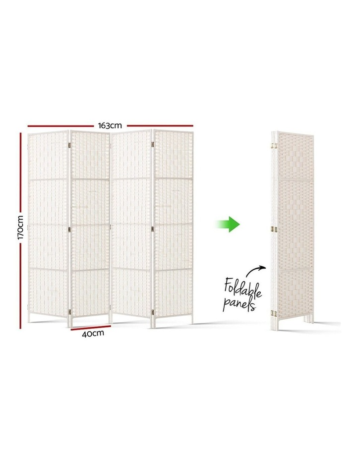 4 Panels Room Divider Screen Privacy Rattan Timber Fold Woven Stand White image 2