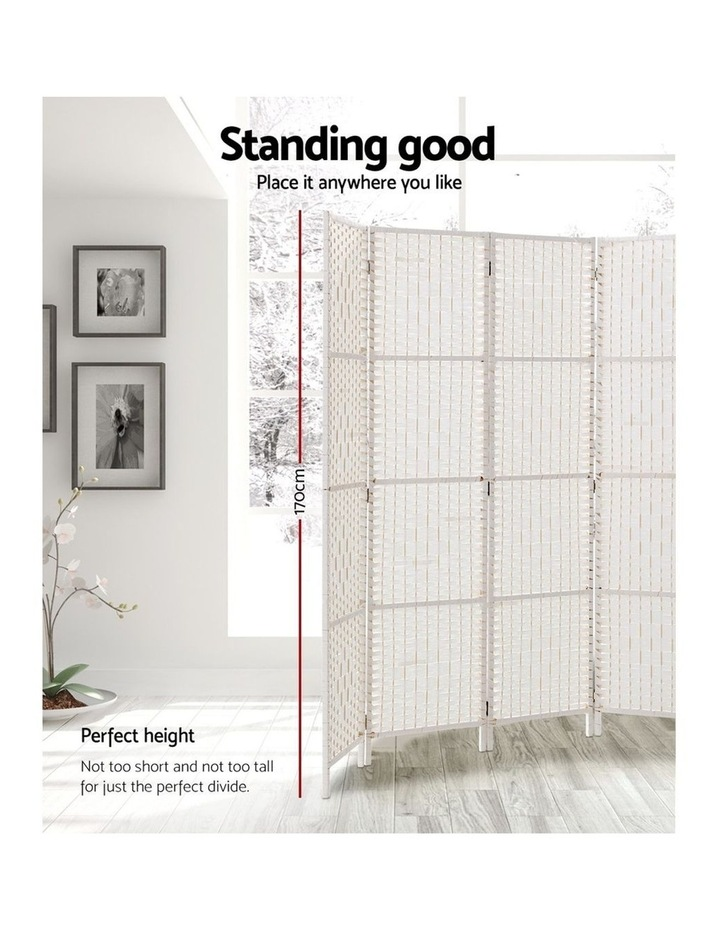 4 Panels Room Divider Screen Privacy Rattan Timber Fold Woven Stand White image 3