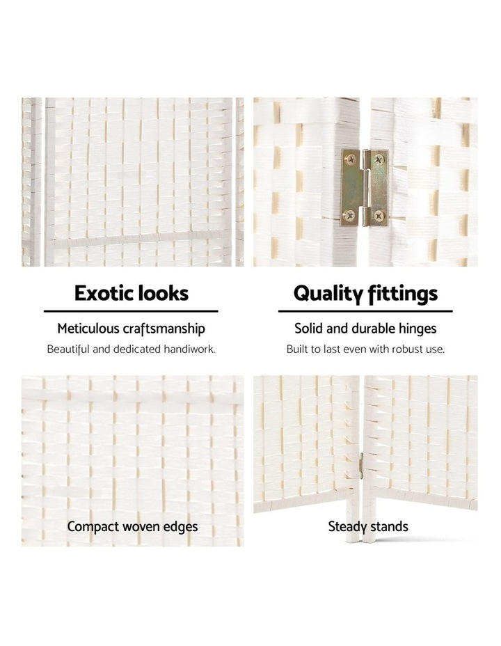 4 Panels Room Divider Screen Privacy Rattan Timber Fold Woven Stand White image 6