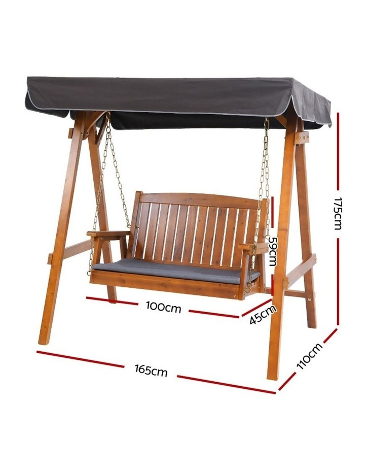 Swing Chair Wooden Garden Bench Canopy 2 Seater Outdoor Furniture image 2