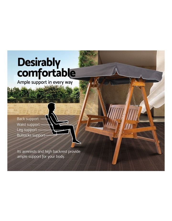 Swing Chair Wooden Garden Bench Canopy 2 Seater Outdoor Furniture image 6