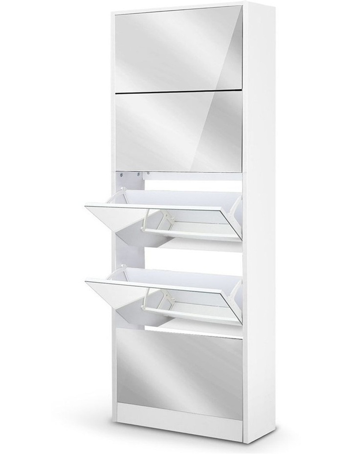 5 Drawer Mirrored Wooden Shoe Cabinet - White image 1