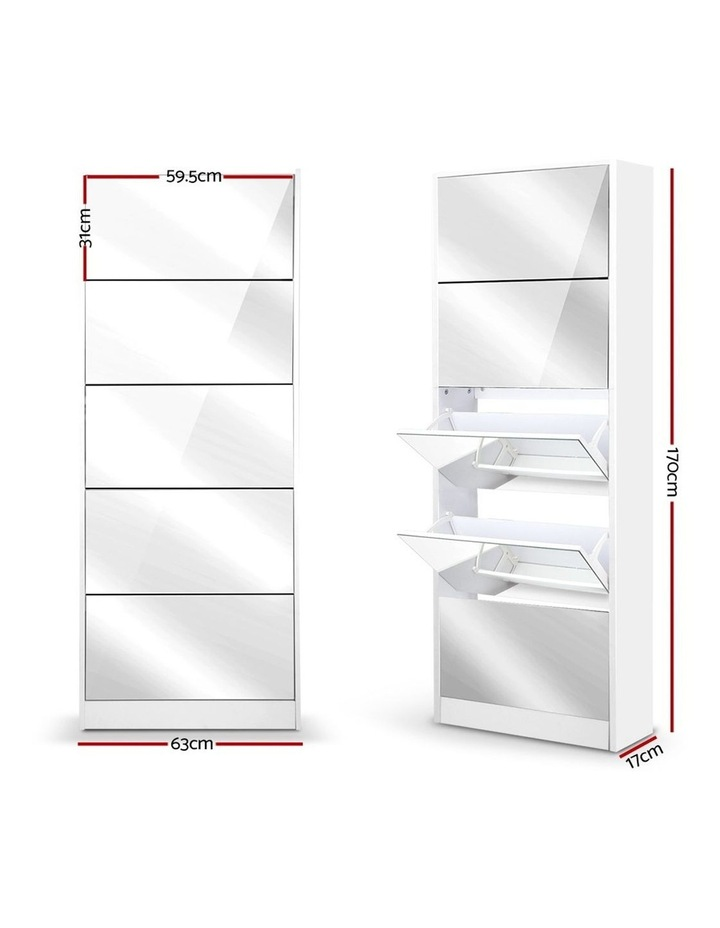 5 Drawer Mirrored Wooden Shoe Cabinet - White image 2