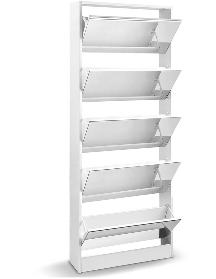 5 Drawer Mirrored Wooden Shoe Cabinet - White image 3
