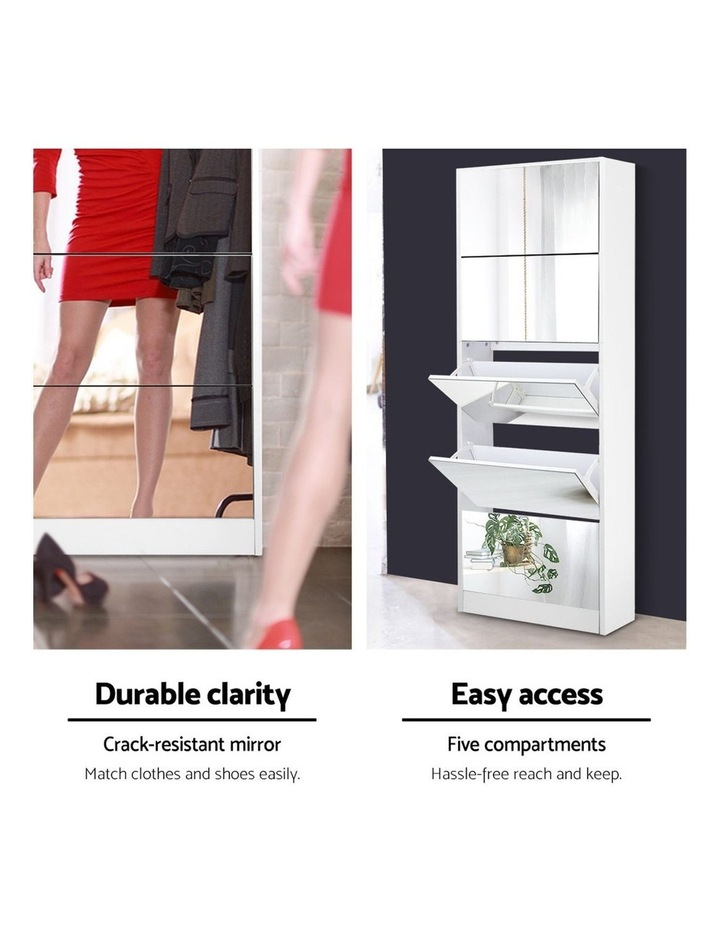 5 Drawer Mirrored Wooden Shoe Cabinet - White image 4