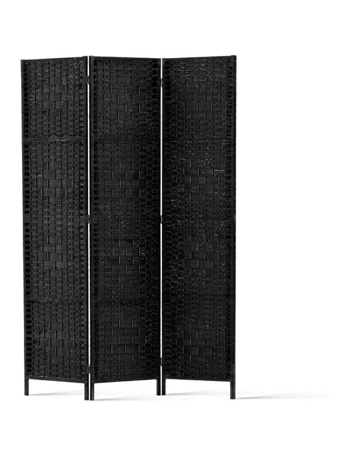 3 Panel Room Divider Privacy Screen Rattan Frame Stand Fold Woven Black image 1