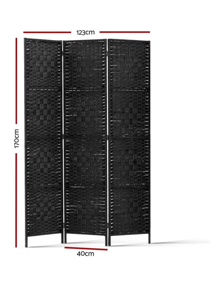 3 Panel Room Divider Privacy Screen Rattan Frame Stand Fold Woven Black image 2