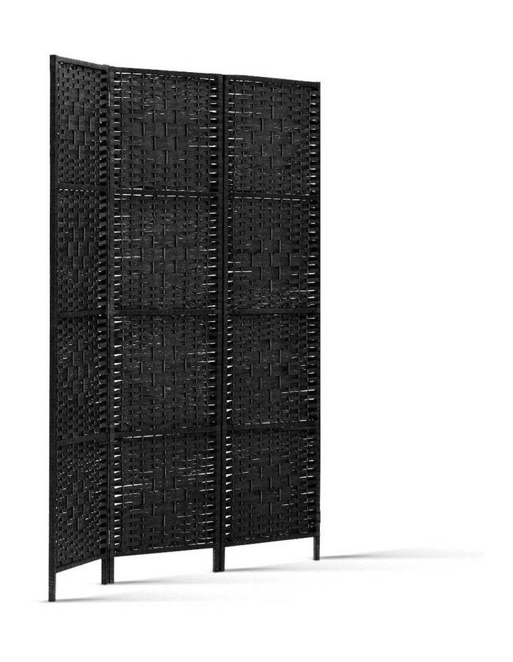 3 Panel Room Divider Privacy Screen Rattan Frame Stand Fold Woven Black image 3