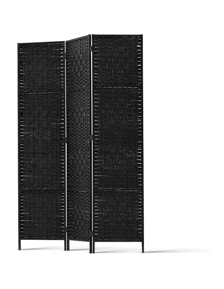 3 Panel Room Divider Privacy Screen Rattan Frame Stand Fold Woven Black image 4
