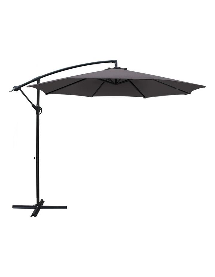 3M Garden Umbrella Outdoor Furniture Cantilever Shade Patio Charcoal image 1