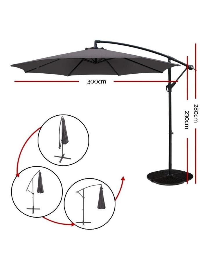 3M Garden Umbrella Outdoor Furniture Cantilever Shade Patio Charcoal image 2