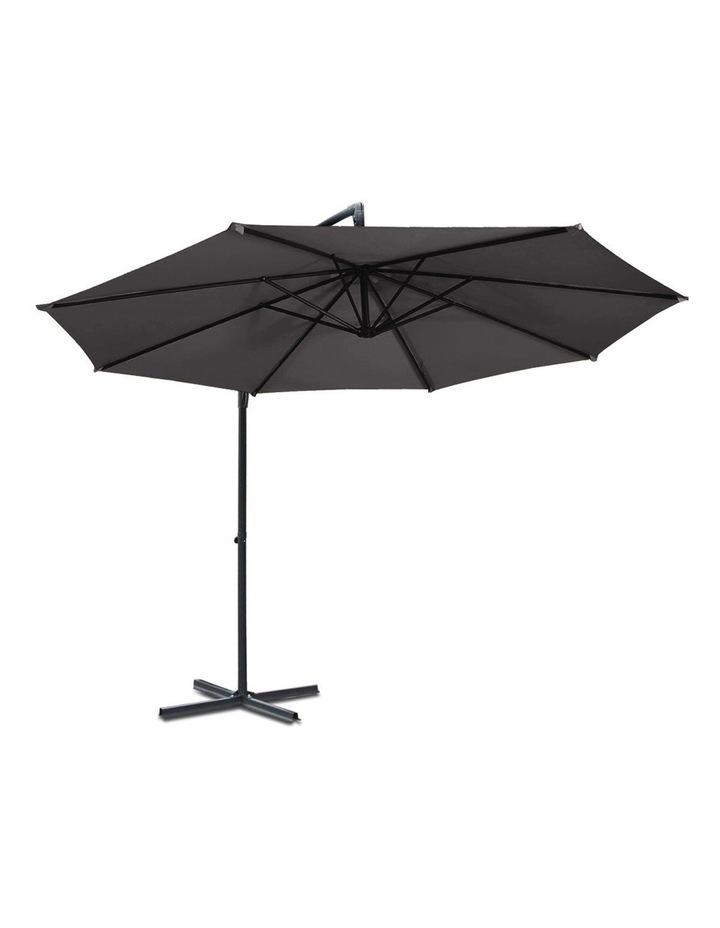 3M Garden Umbrella Outdoor Furniture Cantilever Shade Patio Charcoal image 3